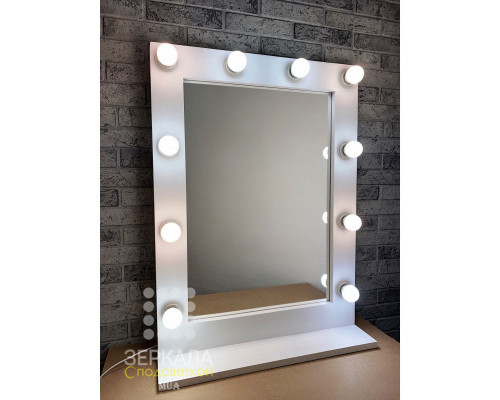 Белое гримерное зеркало с подсветкой на подставке 80х60