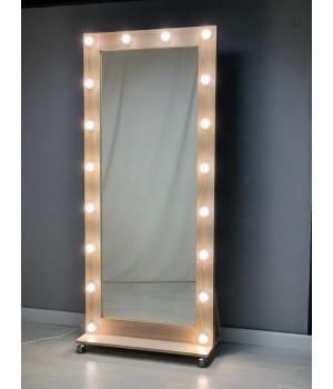 Гримерное зеркало на роликах 180х80 Светлый дуб