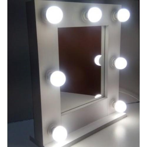 Гримерное зеркало с подсветкой лампочками 50х50 7 ламп