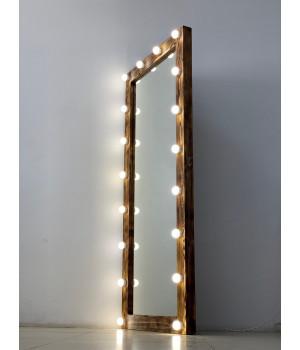 Гримерное зеркало из массива в пол с лампочками 180х80 см