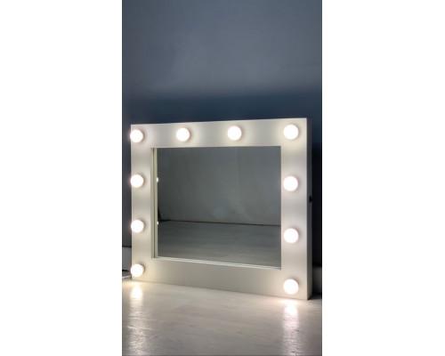 Зеркало для ванной из дерева с подсветкой лампочками 80х60
