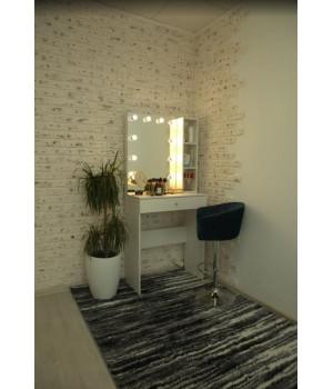 """Гримерный столик """"Диана"""" 80х80 с безрамным зеркалом 80х60 и стеллажем"""