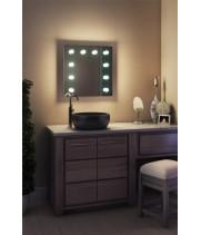 Зеркало в ванную комнату с подсветкой лампочками Ария 50 на 50 см