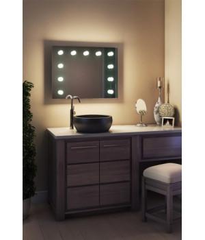 Зеркало в ванную комнату с подсветкой лампочками Виктория