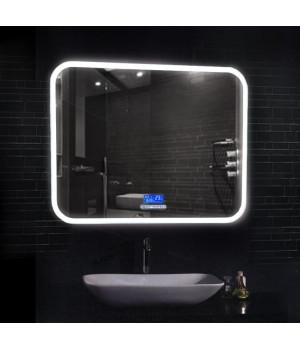 Большое зеркало в ванную комнату с подсветкой и панелью управления Демьюр